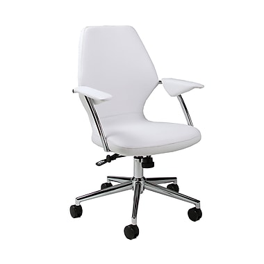 Pastel Furniture Ibanez Faux Leather Executive Office Chair, Adjustable Arms, Ivory (QLIB16477978)