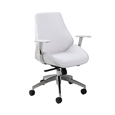 Pastel Furniture Isobella Faux Leather Executive Office Chair, Fixed Arms, Ivory (QLIS16477978)