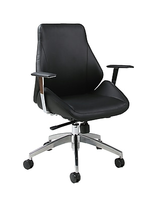 Pastel Furniture Isobella Faux Leather Executive Office Chair, Fixed Arms, Pu Black (QLIS16477979)