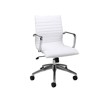 Pastel Furniture Faux Leather Computer and Desk Office Chair, Fixed Arms, Ivory (QLJN16477978)