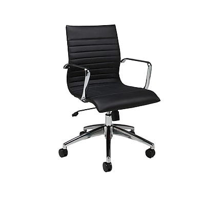 Pastel Furniture Janette Faux Leather Computer and Desk Office Chair, Fixed Arms, Pu Black (QLJN16477979)