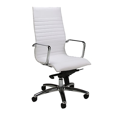Pastel Furniture Kaffina Leather Computer and Desk Office Chair, Fixed Arms, Ivory (QLKF16477978)