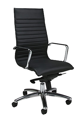 Pastel Furniture High-Back Leather Executive Chair, Fixed Arms, Black