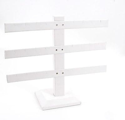 Leatherette 3-Bar Earring Display, White