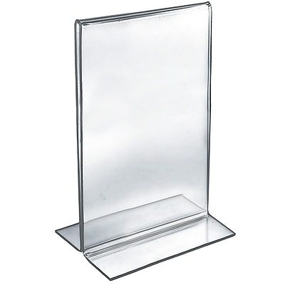 """Azar Acrylic 2-Sided Double-Foot Vertical Sign Holder, 14"""" x 8.5"""", 10/Pack"""