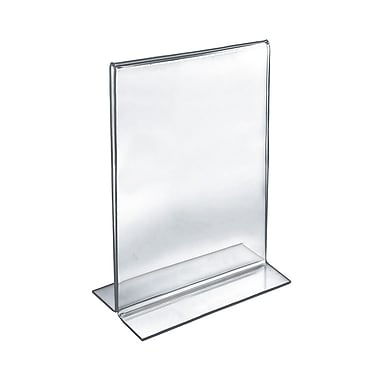 Azar Acrylic 2-Sided Double-Foot Vertical Sign Holder, 14
