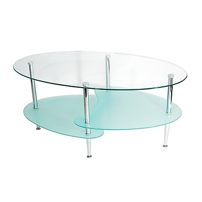 Walker Edison Wave Glass Coffee Table, Clear Glass, Each (C38B4)
