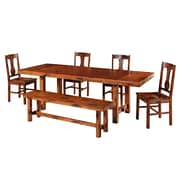 Walker Edison Huntsman 6 Piece Wood Dining Set, Dark Oak
