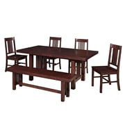 Walker Edison Meridian 6 Piece Wood Dining Set, Cappuccino