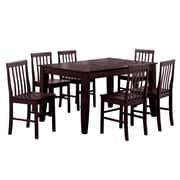 Walker Edison Abigail 7 Piece Wood Dining Set, Espresso