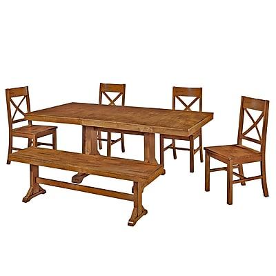 Walker Edison Millwright 6 Piece Wood Dining Set, Antique Brown