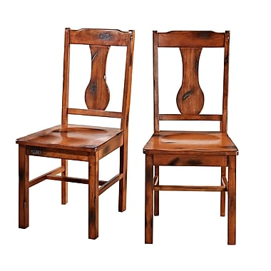 Walker Edison Huntsman Wood Dining Chair, Dark Oak, 2/Pack (CHH2DO)