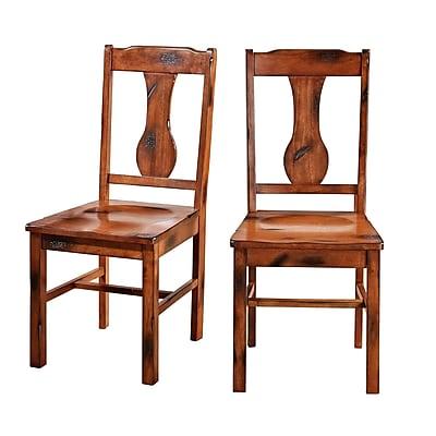 Walker Edison Huntsman Wood Dining Chair, Dark Oak