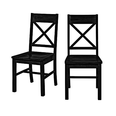 Walker Edison Millwright Wood Dining Chair, Black, 2/Pack (CHW2BL)