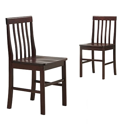 Walker Edison Solid Wood Dining Chair, Espresso, 2/Pack
