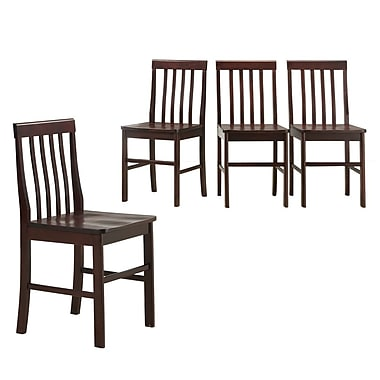 Walker Edison Solid Wood Dining Chair, Espresso, 4/Pack