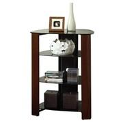 Walker Edison Regal Glass Multi-Level Component Stand, Wood Espresso