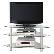 "Walker Edison Bermuda 44"" Glass Corner TV Stand, Silver"