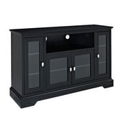 "Walker Edison 52"" Highboy Style Wood TV Stand, Matte Black"