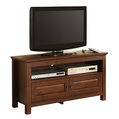 Walker Edison Cortez 44-Inch Wood TV Console, Traditional Brown