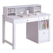 "Walker Edison Deluxe 48"" x 24"" x 30"" Wood Storage Desk With Hutch, White"