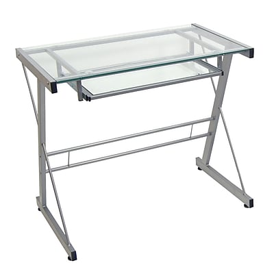 Walker Edison Glass Solo Computer Desk Silver D31S29 Staples