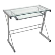 Walker Edison Glass Solo Computer Desk, Silver (D31S29)