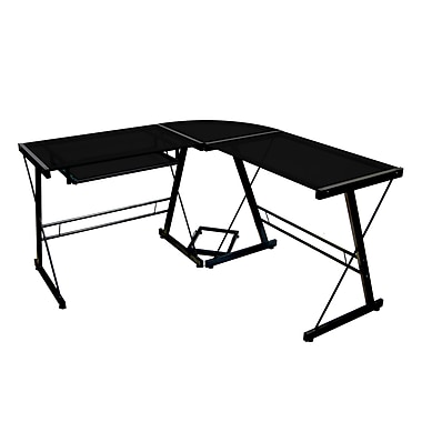 Walker Edison Glass Corner Computer Desk, Black (D51B29)