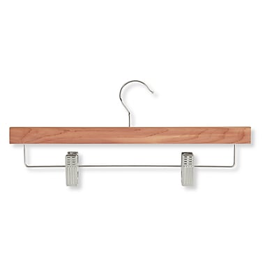 Honey Can Do® Cedar Skirt and Pant Hanger with Clips, Chrome Hook