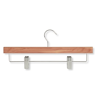 Honey Can Do Cedar Skirt and Pant Hanger With Clips, Chrome Hook