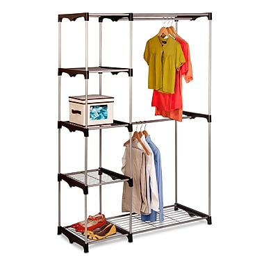 Honey Can Do Double Rod Free standing Closet, silver / black (WRD-02124)