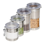 Honey Can Do® Stainless Steel and Acrylic Canister Containers, Clear/Chrome