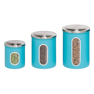 Honey Can Do® Steel Storage Canister Containers, Blue