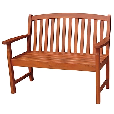 International Concepts Acacia Hardwood 2 Seater Slatback Bench, Brown