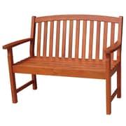 International Concepts Acacia Hardwood 2 Seater Slatback Bench, Brown