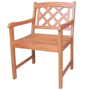 International Concepts Acacia Wood Latticeback Arm Chair, Oiled