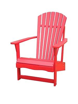 International Concepts Solid Acacia Wood Adirondack Chair, Red