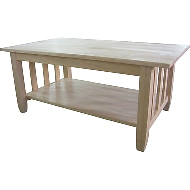Whitewood Industries Mission Wood Coffee Table, Unfinished, Each (BJ6TC)