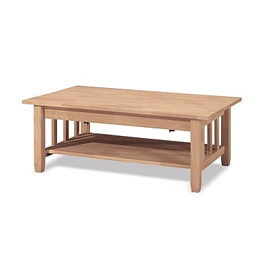 Whitewood Industries Mission Wood Coffee Table, Unfinished, Each (BJ6TCL)
