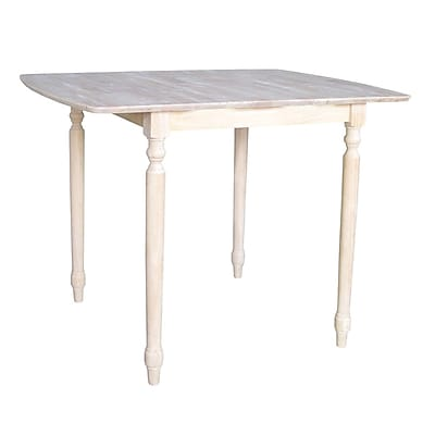 """International Concepts 36"""" x 36"""" x 36"""" Square Solid Wood Table W/Butterfly & Turned Legs"""
