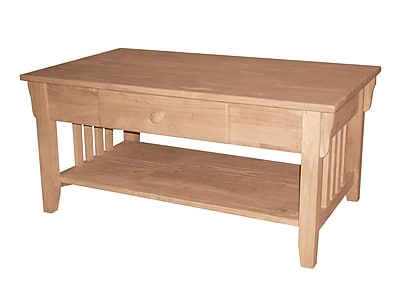 Whitewood Industries Mission Wood Coffee Table, Unfinished, Each (OT-61C)
