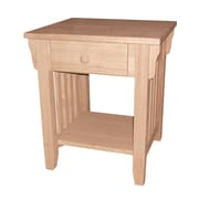"""International Concepts 22"""" x 19 1/4"""" x 19 3/4"""" Wood Mission End Table, Unfinished"""