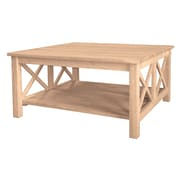 "International Concepts Hampton 18""H x 36""W x 36""D Solid Parawood Square Coffee Table, Unfinished"