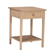 "International Concepts 30"" x 21"" x 21"" Wood Hampton Bedside Table With Drawer, Unfinished"