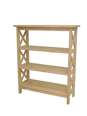 International Concepts Solid Parawood 3 Tier X-Sided Book Shelf, Unfinished