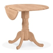 """International Concepts 24"""" x 36"""" Round Parawood Dual Drop Leaf Pedestal Table, Unfinished"""