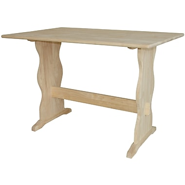 International Concepts 29'' x 43'' x 28'' Parawood Trestle Table and Bench, Unfinished