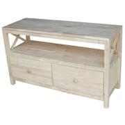 """International Concepts 44"""" Hampton X-Side TV Stand, Unfinished"""