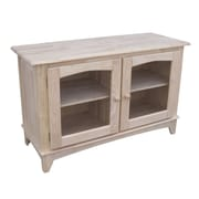International Concepts TV Stand With 2 Glass Doors, Unfinished