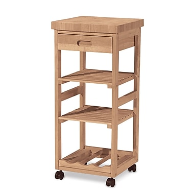 International Concepts Solid Parawood Kitchen Trolley Cart, Unfinished